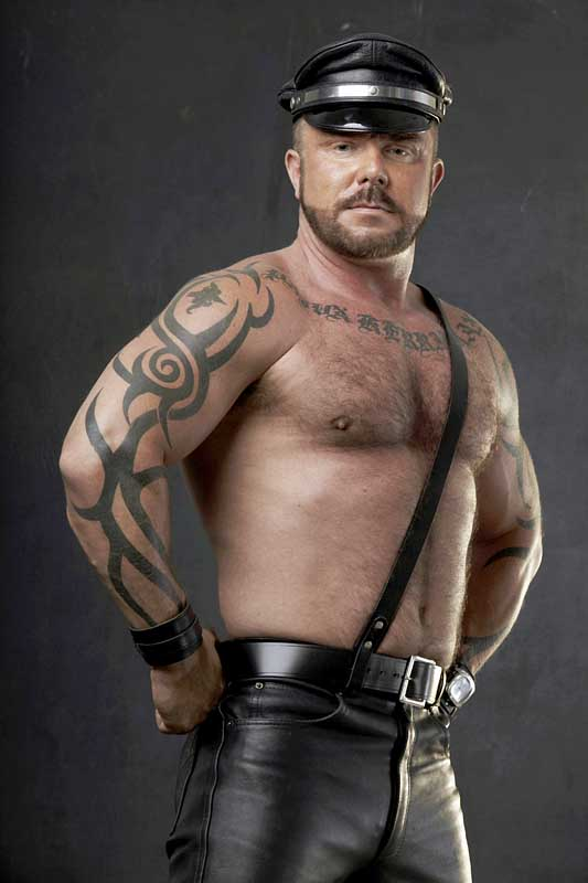 Gay man bear leather black